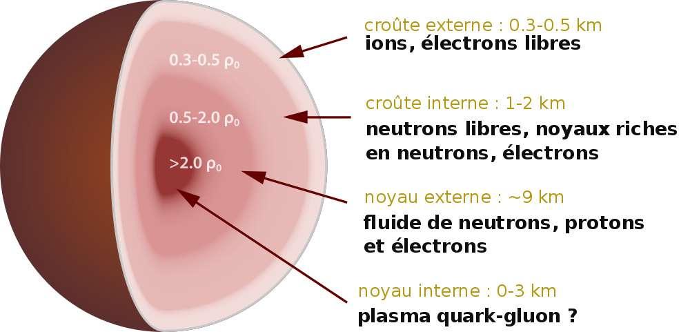 Un modèle possible de l'intérieur d'une étoile à neutrons. © Wattcle, cc by sa 4.0l'image