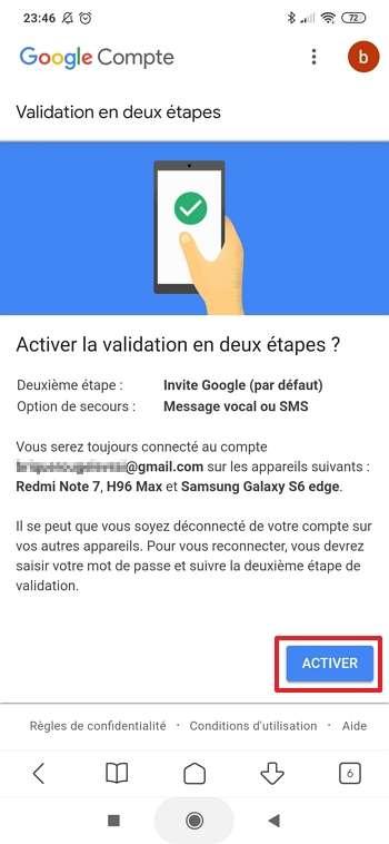 Appuyez sur « Activer » pour terminer la procédure de validation en deux étapes. © Google Inc.