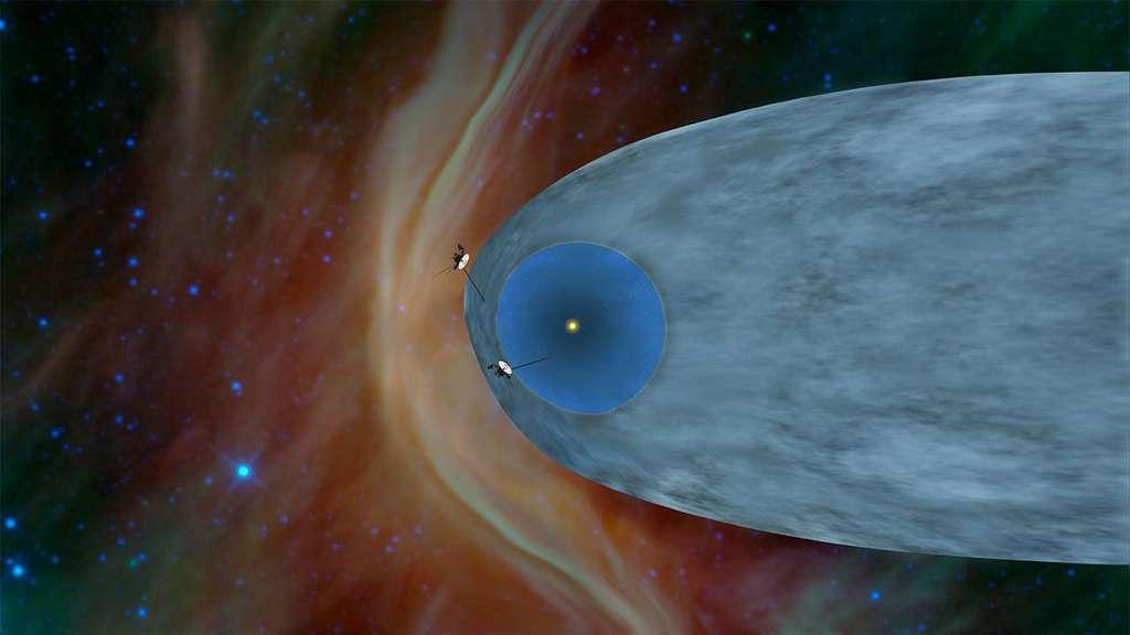 Sur cette vue d'artiste, les localisations des deux sondes avant que Voyager 2 quitte l'héliosphère. En haut, Voyager 1 est entré dans l'espace interstellaire du côté du front de l'héliosphère. Voyager 2, comme pressenti sur cette illustration, a finalement quitté l'héliosphère plus par son flanc. © Nasa, JPL-Caltech