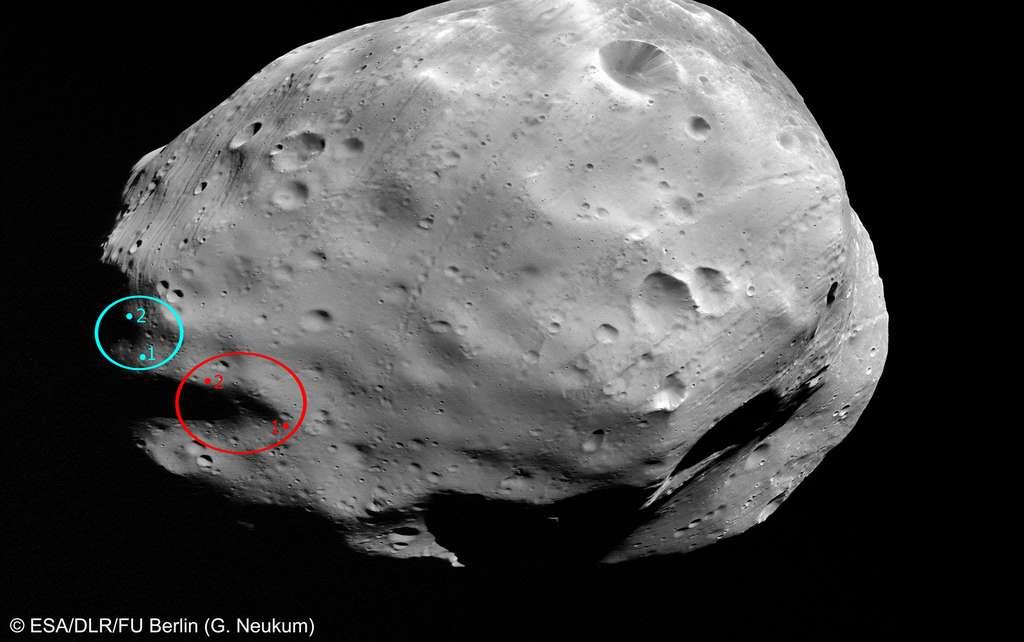 Image de Phobos acquise par la sonde Mars Express le 7 mars 2010. Les cercles indiquaient les sites possibles d'atterrissage de la sonde Phobos-Grunt. Ils pourraient être ceux de la future mission MMX du Cnes et de la Jaxa. © ESA, DLR, FU Berlin