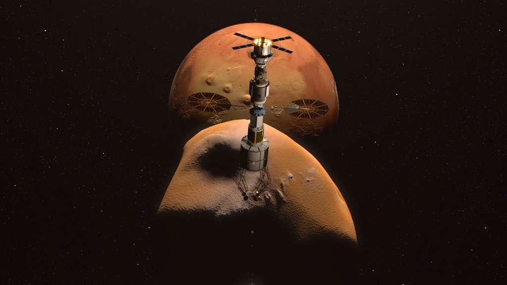 Les premières missions martiennes habitées de la Nasa ne prévoient pas d'atterrir sur Mars mais des mises en orbite autour de Mars ou Phobos, voire un atterrissage sur Phobos. © Nasa