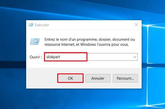 Renseignez le champ libre en écrivant «diskpart». © Microsoft
