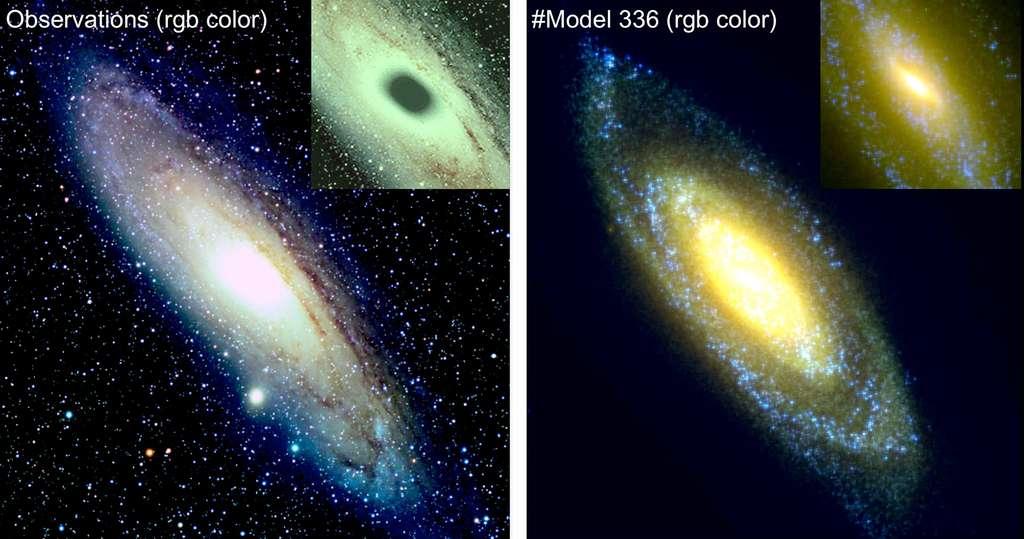 La galaxie d'Andromède, M 31 dont le disque très incliné s'étend en diamètre sur environ 40 kiloparsecs. À gauche, M31 observée en couleurs réelles. À droite, simulation numérique à 24 millions de particules. L'insert, en haut et à droite de chaque image, montre que la simulation parvient aussi à reproduire la barre de la galaxie (sombre dans l'insert gauche, jaune dans celui à droite), ainsi que les régions de formation stellaire (bleues) qui appartiennent au disque d'Andromède. © Richard Crisp, Observatoire de Paris - PSL, Hammer et al. 2016