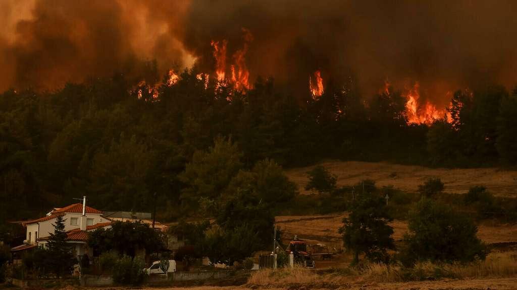 Incendie déclaré à proximité de la ville de Kyrynthos, en Grèce, le 6 août 2021. © Sotiris Dimitropoulos, AFP