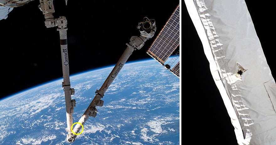 Le bras robotique Cadadarm 2 de la Station spatiale internationale (ISS) a été heurté par un débris spatial. Il a laissé un trou de cinq millimètres de diamètre. © Nasa, Agence spatiale canadienne