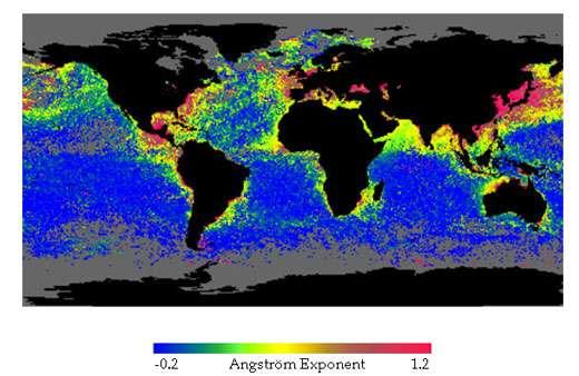 Figure 3: répartition géographique de la taille des aérosols déterminée pour le mois de novembre 96 par l'instrument POLDER (coopération CNES – NASDA). Les plus petites particules correspondent aux plus grandes valeurs du coefficient d'Angstrom et apparaissent en rouge. Il n'y a pas de données disponibles aux hautes latitudes. On notera les régions fortement polluées de l'Asie du Sud Est et les panaches issus d'incendies entre Madagascar et l'Afrique..