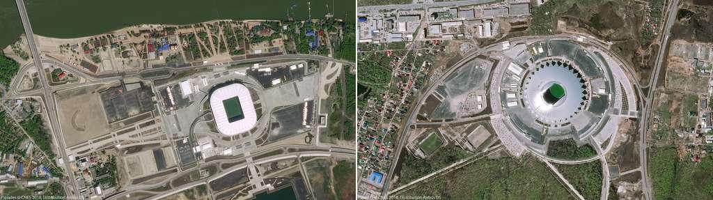 À gauche, le stade de Rostov sur le Don (2012) et à droite, le Cosmos Arena de la ville de Samara. Ce stade a été construit à l'occasion de cette coupe du monde de football. © Pléiades, Cnes 2018, Distribution Airbus DS