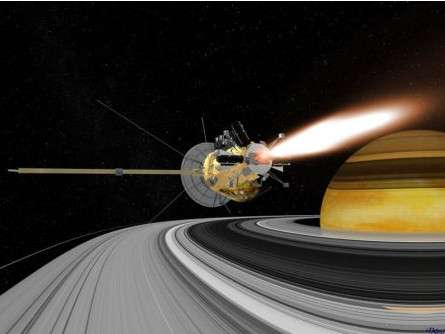Illustration de l'nsertion de Cassini en orbite de Saturne, pour la mission Cassini-Huygens. © Nasa/JPL/Caltech