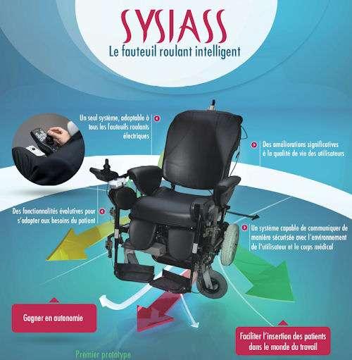 Le prototype de fauteuil intelligent qui va être testé jusqu'en mars prochain à la Fondation Garches. © Syssias