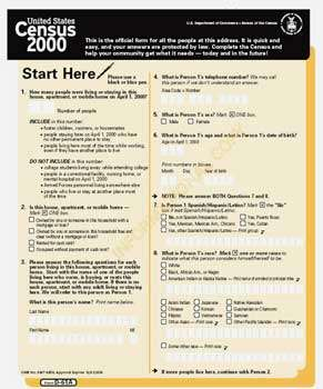 Cliquer sur l'image pour l'agrandir - Formulaire du recensement pratiqué en 2000, aux Etats-Unis