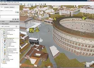Une vue du quartier du Colisée, avec l'Arc de Constantin et le Temple de Vénus et de Rome... (Cliquer pour agrandir.)