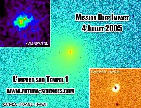 La mission Deep Impact avait pour objectif de percuter la comète 9P/Tempel-1. © DR
