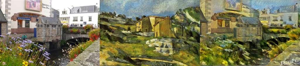 Nous nous sommes amusés à tester DeepArt. À gauche, une photographie des toilettes publiques de Pont-Aven, au pied de la biscuiterie Traou Mad – avec ses fameuses galettes et, sur son mur, une reproduction d'un tableau de Gauguin (La ronde des petites bretonnes). Au centre, un tableau de Cézanne (Maison de Provence) qui a servi de modèle pour le style. À droite, le résultat obtenu avec DeepArt. © DeepArt, Jean-Luc Goudet