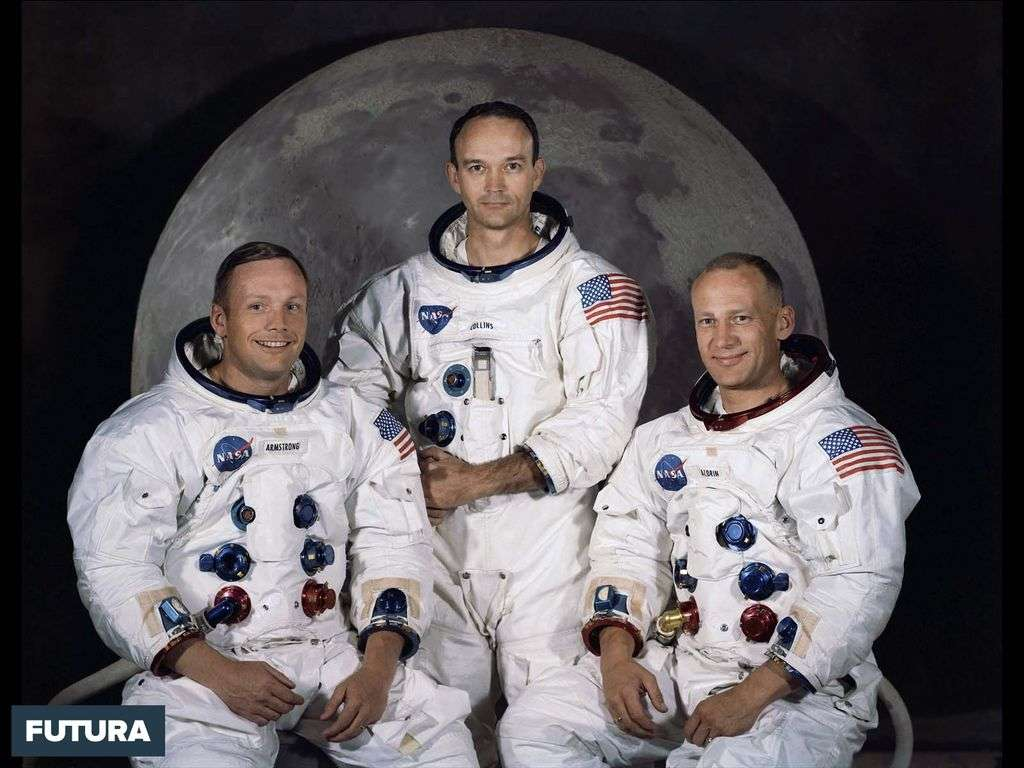 L'équipage d'Apollo 11 : Neil A. Armstrong, Michael Collins, Edwin E. Aldrin Jr.