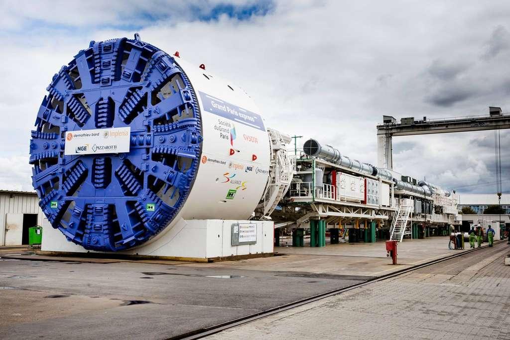 Steffie-Orbital, le premier tunnelier du Grand Paris Express a été lancé le 3 avril 2018 pour creuser 2,2 kilomètres de tunnels. © Laurent Villeret, Société du Grand Paris.
