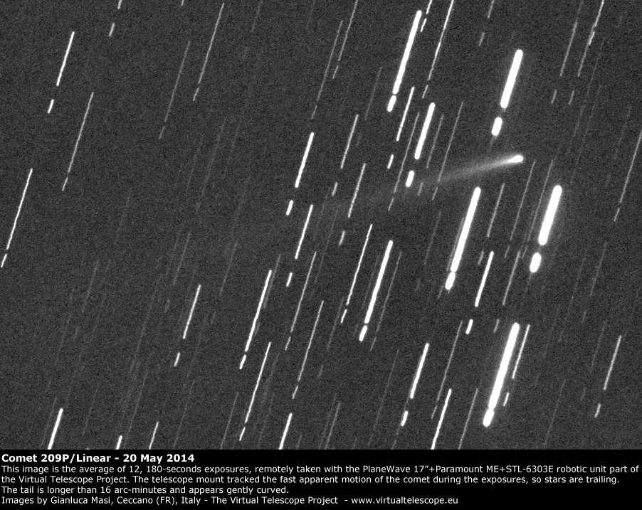 Découverte en 2004, la comète 209P/Linear appartient à la famille de Jupiter, laquelle perturbe régulièrement son orbite de 5 années autour du Soleil. Au périhélie le 6 mai dernier, elle ne sera qu'à 8,3 millions de km de la Terre, le 29 mai prochain. Sur cette photo prise le 20 mai, on distingue la longue traînée de poussières. Se déplaçant rapidement, elle parcourra la voûte céleste à raison quelque 0,5 ° par heure à la fin du mois. © VirtualTelescope.eu.