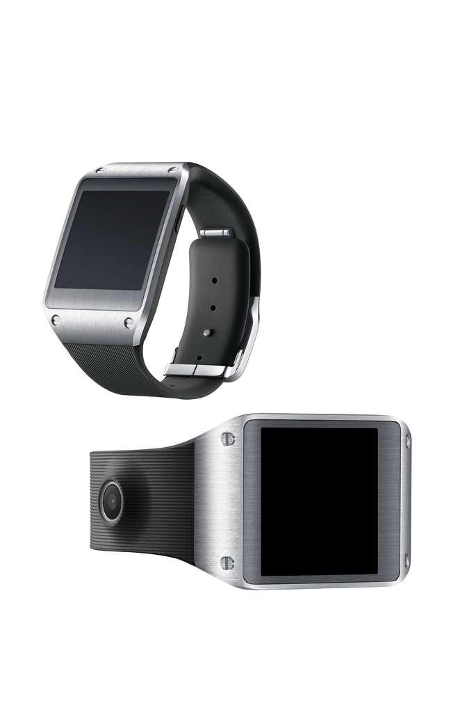 Dans un brevet déposé en Corée du Sud, Samsung a protégé le design d'une montre équipée d'un écran flexible qui s'enroule autour du poignet. Sa première génération de montre intelligente serait cependant équipée d'un écran tactile rigide de 2,5 pouces. © Samsung, Moveplayer