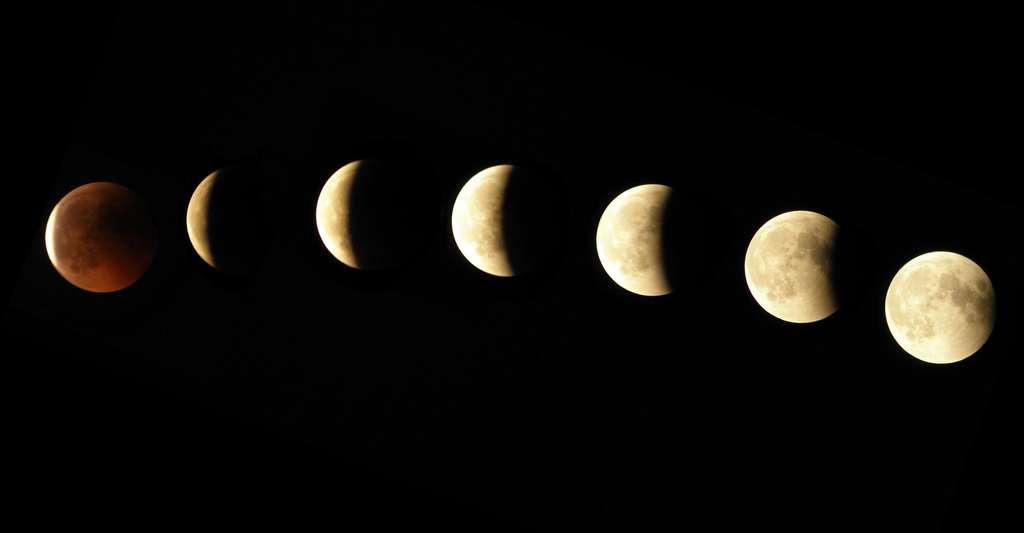 Quelle est la forme de la Terre ? Ici, une éclipse de Lune. Une explication correcte du phénomène des éclipses de Lune conduit à reconnaître la forme de la Terre dans celle de l'ombre projetée sur la surface lunaire, comme l'avaient observé Thalès et Pythagore. © IB306660, DP