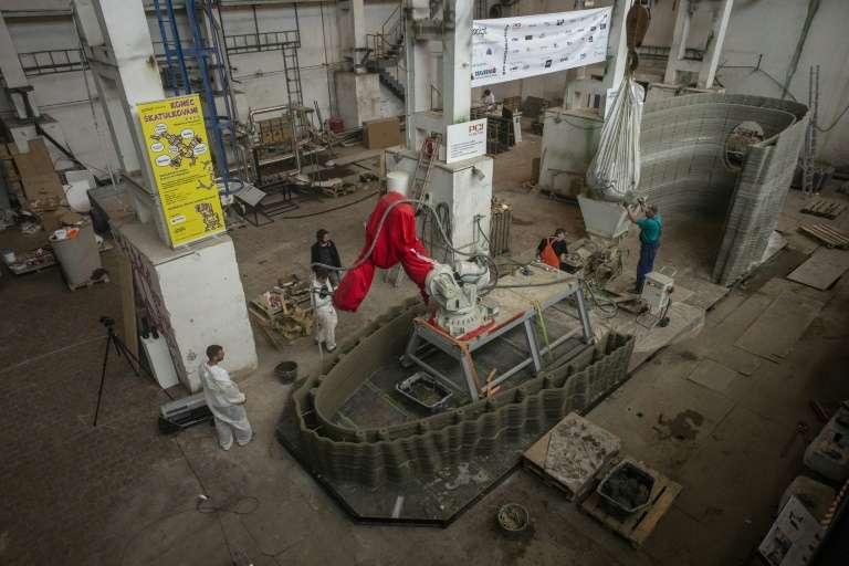 La construction 3D sera mise à quai cet été et flottera sur la rivière Vltava, à Prague. © Michal Cizek, AFP