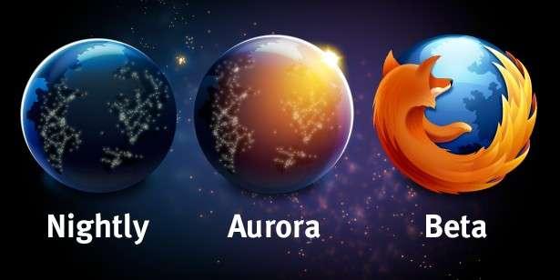 Les nouvelles versions du navigateur Firefox seront diffusées via le canal Nightly (parce que mises en ligne nuitamment), pour des éditions très instables, à ne pas mettre entre toutes les mains. Six semaines plus tard, elles apparaîtront dans le canal Aurora avant d'être téléchargeables en versions bêta. Encore six semaines et la version sera devenue définitive. © Mozilla