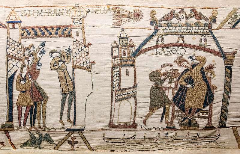 La comète de Halley, qui a traversé le ciel médiéval en 1066, est représentée sur la très célèbre tapisserie de Bayeux. Les observations de comètes décrites dans les broderies médiévales comme celle-ci sont des données précieuses, exploitables de nos jours par les astronomes pour tester l'hypothèse d'une neuvième planète. ©️ Wikimedia Commons