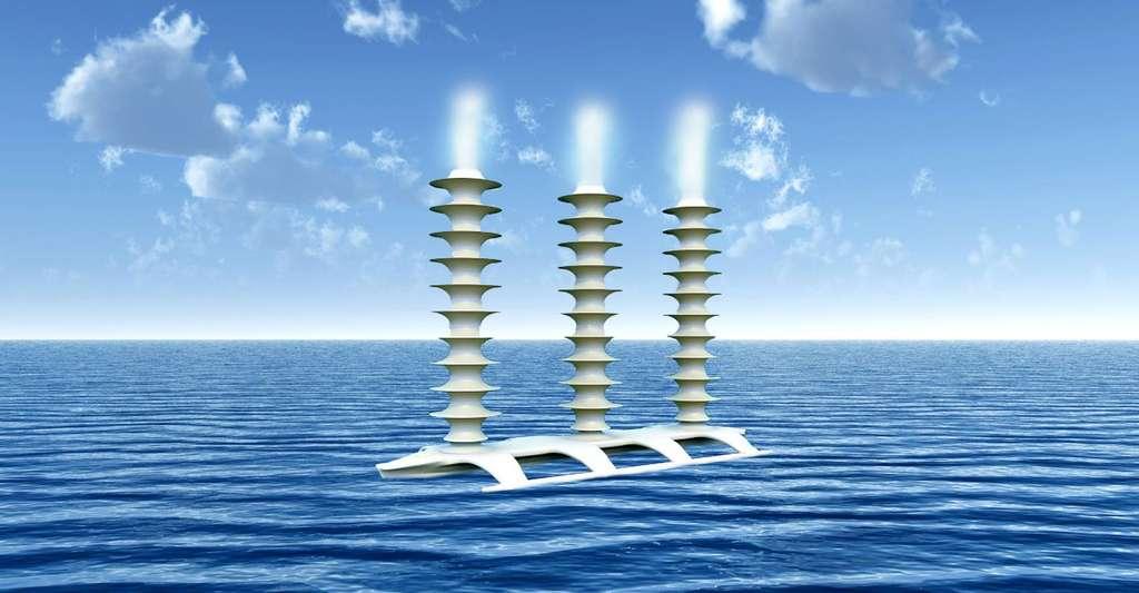 Représentation artistique d'un navire à embruns. Latham5 (2004) propose de construire une flotte de navires éoliens automatiques, propulsés par effet Magnus, qui pulvériseraient de grandes quantités d'eau de mer dans l'air pour augmenter le nombre de noyaux de condensation et rendre les nuages qui s'y développent plus réfléchissants. D'après l'auteur, une flotte de 1.500 navires permettrait de compenser un doublement du dioxyde de carbone atmosphérique. © D'après J. MacNeill, 2006, reprise par Salter4 et al., 2008