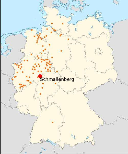 La carte fournie par le FLI indique la distribution du virus de Schmallenberg en Allemagne le 27 janvier 2012. La ville de Schmallenberg, en Rhénanie-du-Nord-Westphalie est un peu l'épicentre de l'épidémie. © Bodlina, Wikipédia, cc by sa 3.0