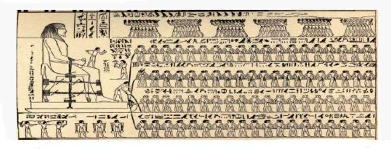 Les hiéroglyphes de la paroi du tombeau de Djehoutyhotep relatent la méthode employée pour déplacer les charges lourdes. © Dessin de Faucher-Gudin (statue colossale de Djehoutyhotep)