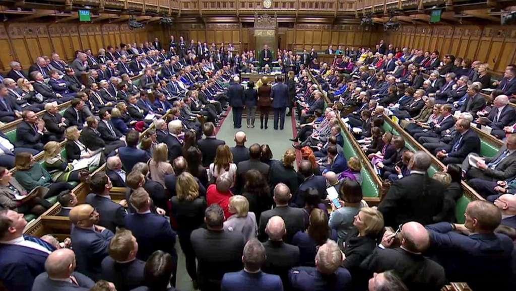 Chambre des Communes (vote sur le Brexit le 29 janvier 2019) ; journal Ouest France. © Reuters TV