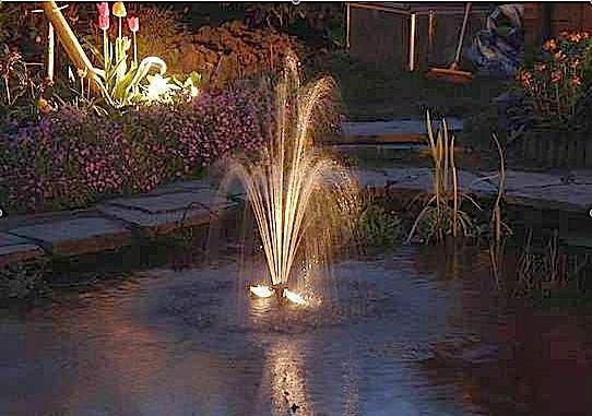 Jet d'eau et éclairage pour un bassin de jardin. © Aquatechnobel