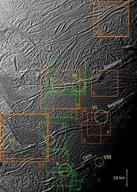 Les appareils photo de la sonde Cassini ont saisi des images à très haute résolution (de 9 à 39 mètres par pixel) de plusieurs zones proches du pôle sud d'Encelade lors du passage du 10 août (carrés verts) et du 31 octobre 2008 (carrés orange). Les astronomes ont visé trois failles, Damascus, Baghdad et Cairo. Les six zones repérées par un cercle sont celles où avaient été observés des geysers (la zone VIII n'a pu être photographiée en très haute résolution). (Cliquer sur l'image pour l'agrandir.) © Nasa/JPL/Space Science Institute