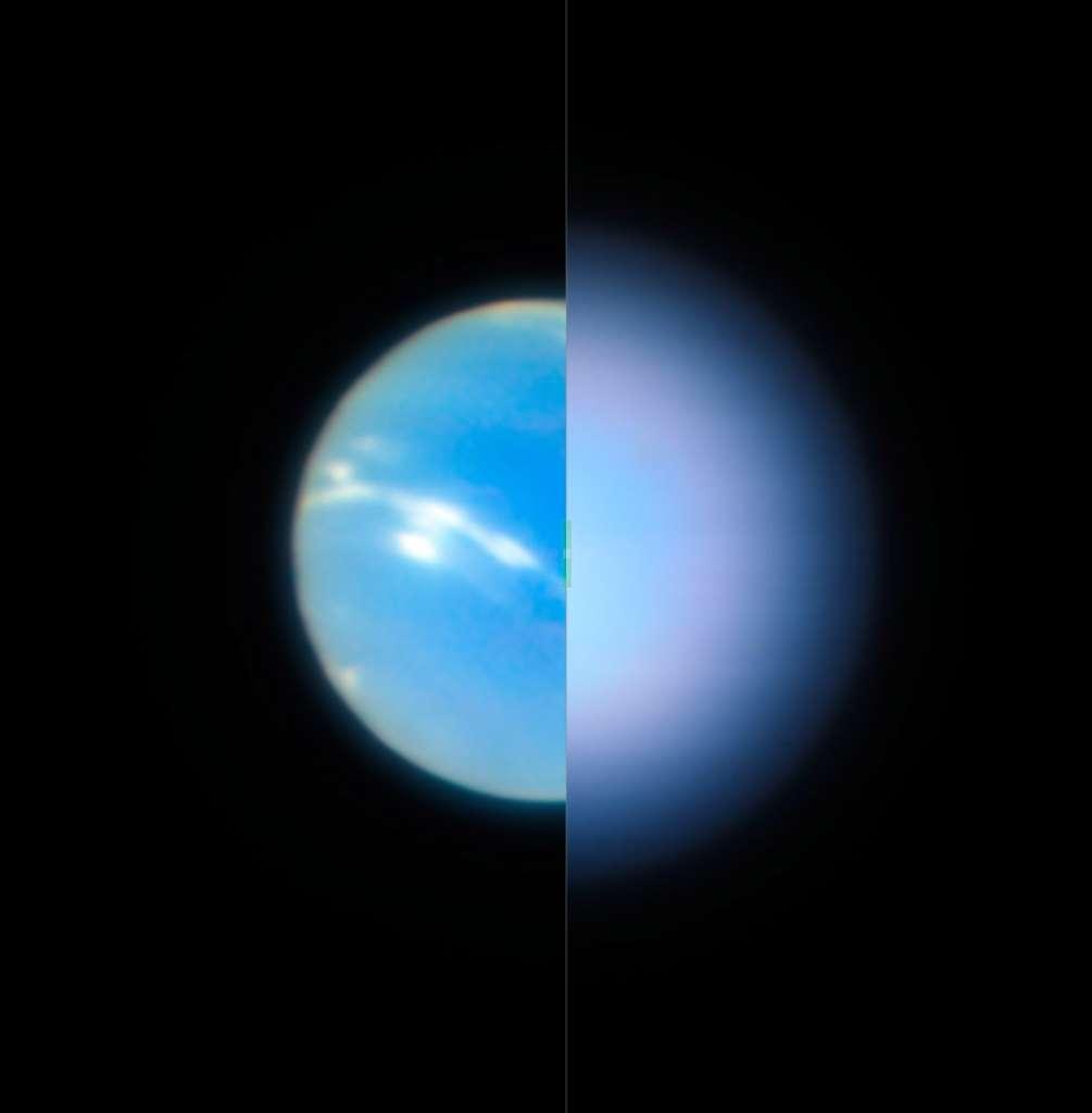 Ce montage permet de se rendre compte de l'intérêt d'utiliser l'optique adaptative pour observer le ciel. À gauche, Neptune observée avec optique adaptative tandis que la partie droite de l'image à été observée sans. © ESO, P. Weilbacher