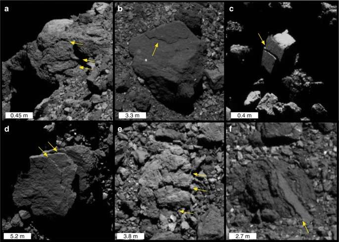 Exfoliation sur une falaise (a) et sur des rochers (b – f) de taille et d'emplacement variables. Le dôme brillant à l'horizon de (a) est un rocher derrière la falaise. © Molaro et al. (2020)