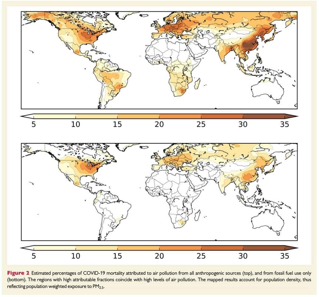 Sur la carte du haut, les pourcentages de morts du Covid-19 liées à la pollution de l'air (particules fines PM 2,5) en général. Sur la carte du bas, ceux liés à l'utilisation d'énergies fossiles. © European Heart Journal