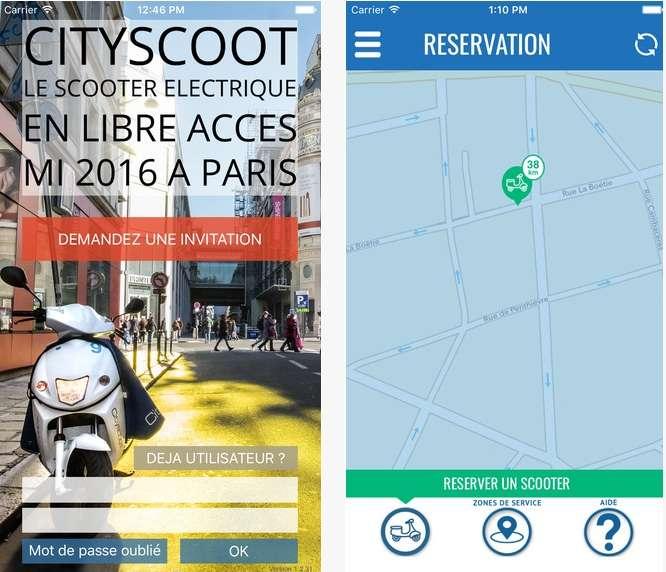 L'application Cityscoot (ici celle pour iPhone) sera obligatoire pour utiliser le service. Elle sert à réserver un scooter, à le localiser et à le déverrouiller. © Apple