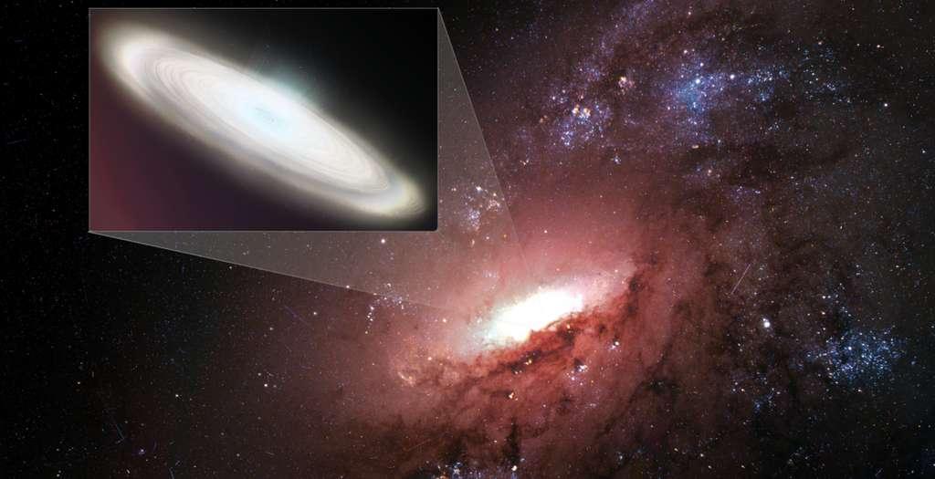 Une vue d'artiste d'un zoom sur le disque d'accrétion d'un trou noir supermassif dans une galaxie, disque brillant par effet maser. © Sophia Dagnello, NRAO, AUI, NSF