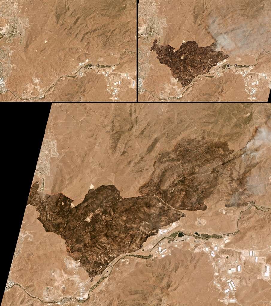 Trois photos montrant les dégâts causés par l'incendie du 2 au 5 juillet 2017 qui a touché les environs de la ville de Sparks, dans le Nevada (États-Unis). © Planet
