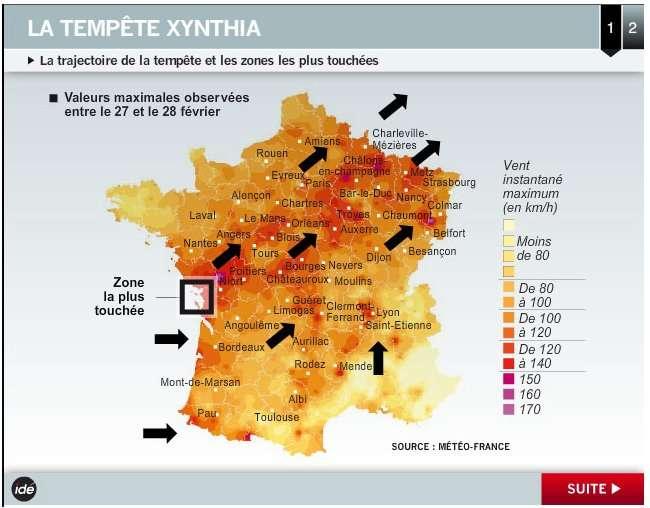 La tempête Xynthia a traversé la France le 28 février 2010, venant du golfe de Gascogne et atteignant ensuite la Belgique, le Luxembourg et l'Allemagne. © Idé
