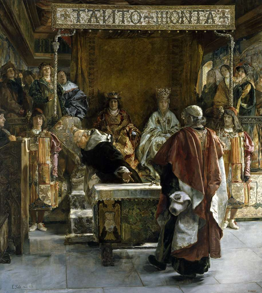 L'édit d'expulsion des Juifs d'Espagne présenté aux Rois catholiques par l'inquisiteur Torquemada en 1492, par Emilio Sala y Francés en 1889. © Musée du Prado, Madri, Wikimedia Commons, DP
