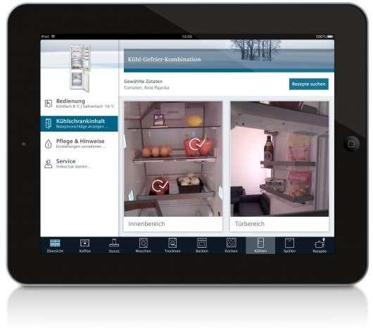 Chez Siemens, il est désormais possible de dresser l'inventaire du contenu du réfrigérateur sans avoir besoin de l'ouvrir, ni même de se trouver à proximité. Pratique pour dresser sa liste de courses à distance. © Siemens