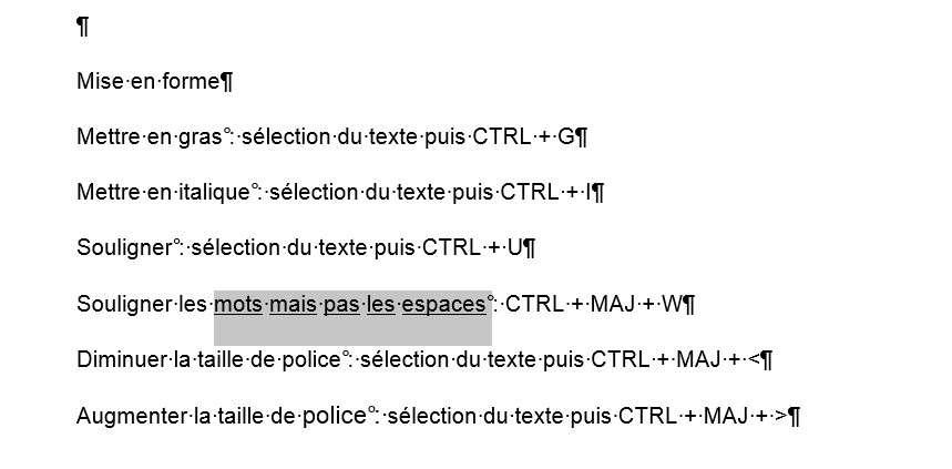 La combinaison de touches CTRL + MAJ + W permet de souligner seulement le texte sélectionné et pas les espaces. © Futura-Sciences