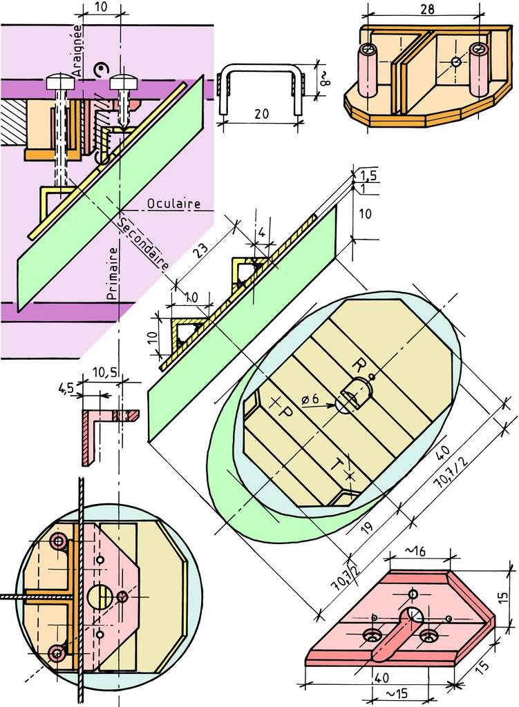 Plan de l'araignée à trois branches du Strock-250. © P. Strock.