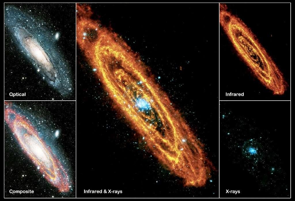La galaxie d'Andromède possède différents visages, selon qu'on l'observe dans l'infrarouge (infrared), dans le visible (optical) ou en rayons X (X-rays). © Esa
