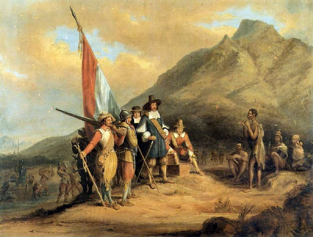 Arrivée de Jan Van Riebeeck au Cap, en 1652 ; par Charles Davidson Bell, XIXe siècle. © Wikimedia Commons, domaine public.