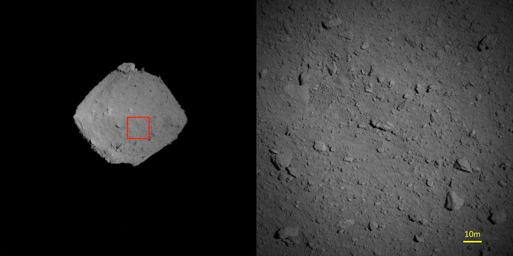 À droite : agrandissement de la zone encadrée en rouge sur la photo de gauche. Cliché pris avec la caméra ONC-T, à environ 1.250 m d'altitude, le 7 août 2018. © Jaxa