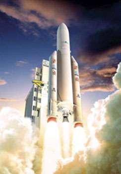 Ariane 5 ESC-A - © ESA - Ejection de matière au décollage