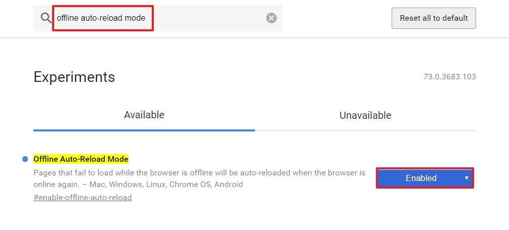 Le flag « Offline Auto-Reload Mode » vous évite de devoir rafraîchir toutes les pages web ouvertes en cas de déconnexion Internet. © Google Inc.