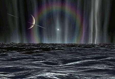 Vue d'artiste montrant les geysers de glace surgissant des crevasses d'Encelade, derrière lesquels apparaît un minuscule Soleil entouré d'un halo de diffraction. Crédit Karl Kofoed – JPL.