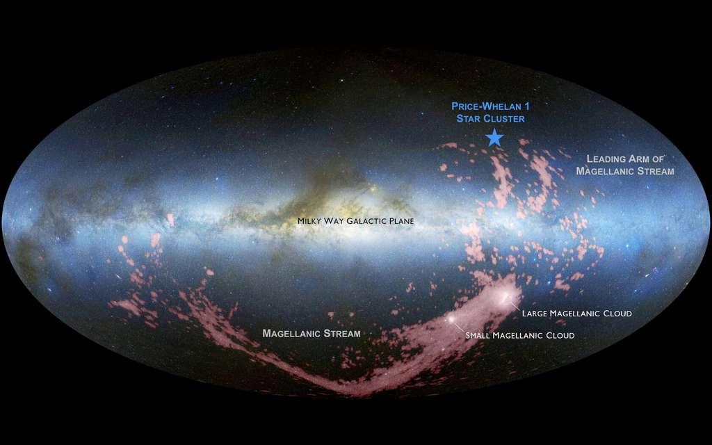 Le nouvel amas de jeunes étoiles identifié par Adrian Price-Whelan se trouve à la périphérie de la Voie lactée (étoile bleue). Ces étoiles se sont probablement formées à partir de matériaux provenant des galaxies naines voisines, les nuages de Magellan. © David Nidever, Nasa