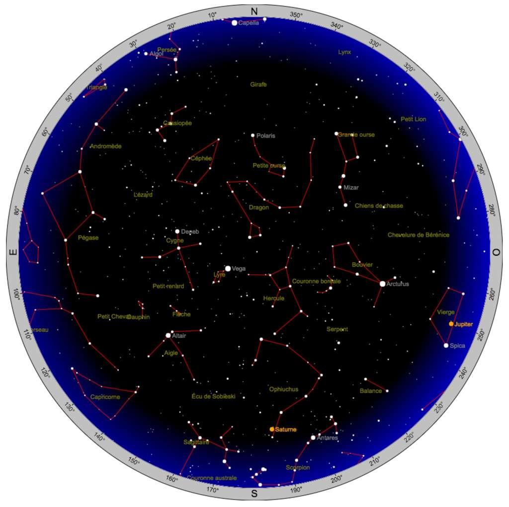 Carte du ciel pour le 12 août vers 22 h. En 2017, Jupiter est visible dans la Vierge, à l'ouest et Saturne brille dans le Serpentaire, au sud. Créez et imprimez votre propre carte du ciel selon votre position géographique et l'heure de votre choix sur le site Heavens-Above. © Heavens-Above